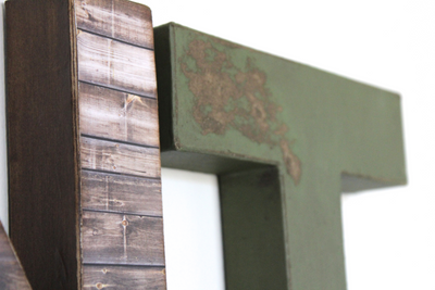 "Brown and green ""wooden"" distressed farmhouse wall letters."