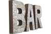 Rustic brick bar wall letters for home bar decor.