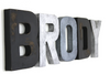 Brody modern farmhouse nursery letters in black, silver, and grey.
