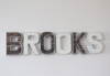 Brooks name letters for a little boys room wall decor in white and brown colors.