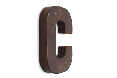 "Brown ""wooden"" letter C in a farmhouse distressed finish."