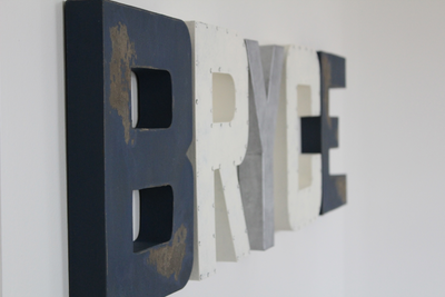 Custom wall letters spelling out the name Bryce for a vintage airplane themed nursery.