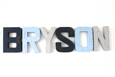 Bryson nautical nursery letters in blues and grays.