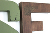 Distressed letters created in green and brown colors for the John Deere baby.