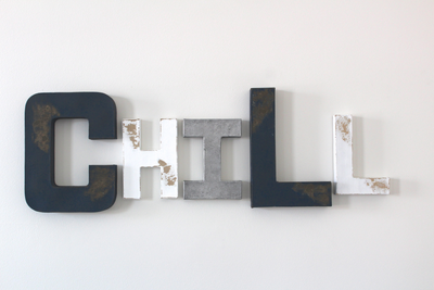 Chill sign for teen wall decor in navy, white, and silver colors.