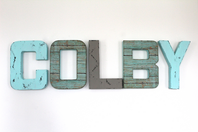 Colby custom wall letters for boho boy nursery decor.