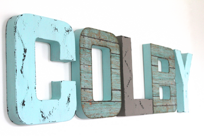 "Blue and grey ""wooden"" name letters for boys room decor spelling out Colby."