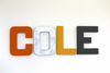 Nursery wall letters for boys nursery spelling out the n name Cole.