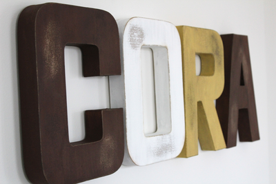 "Woodland Theme Girls Name CORA with Rustic ""Wooden"" Arrow"