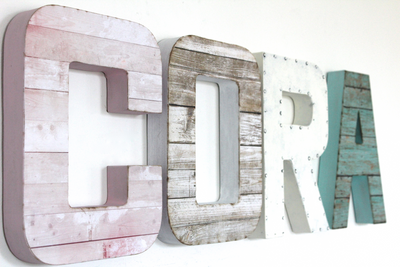 Cora wall name letters for girls room decor.