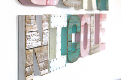 "Girl's room ""wooden"" letters for baby girl Nicole in pink, white, and teal."