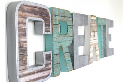 Create decorative letters for playroom wall decor and nursery wall decor.