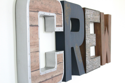 Industrial farmhouse decorative letters spelling out Crew.