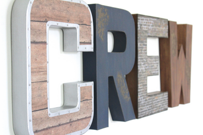 Crew wall letters created in an industrial farmhouse style.