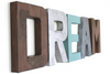 """Wooden"" letters and ""metal"" letters spelling out the word dream in different colors."