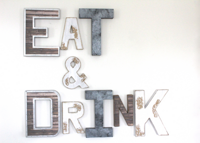 Rustic Kitchen Wall Decor letters spelling out the words Eat and Drink.