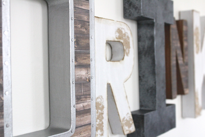 "Rustic ""wooden"" and industrial ""metal"" wall letters for kitchen wall decor."