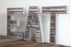 "Farmhouse freestanding eat letters with metal trim around a ""wooden"" letter"