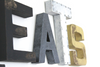 "Rustic ""wooden"" and ""metal"" EATS sign in black, silver, white, and yellow."