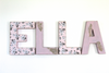 "ELLA ""wooden"" wall letters in a farmhouse chic distressed style."