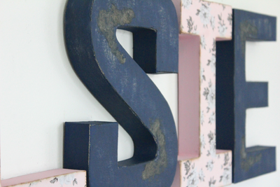 """wooden"" distressed navy letter S and pink letter I with flowers."