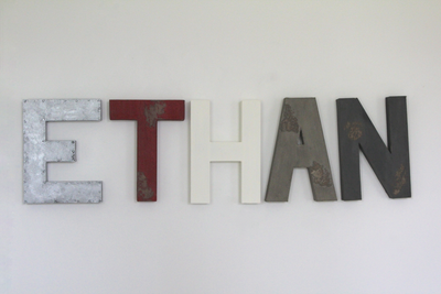 Aviation nursery decor spelling out Ethan in custom wall letters.