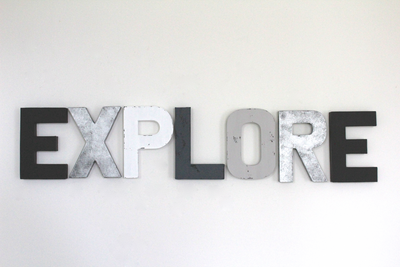 "Explore ""wooden"" wall letters in black and white."