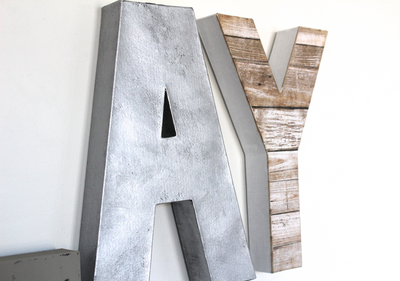 Rustic and industrial letters A and Y for kids playroom decor.