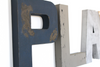 Playroom letters for kids playroom decor in navy, grey, and silver.