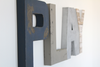 Play wall sign for boys playroom wall decor in navy, silver, gray, and white.