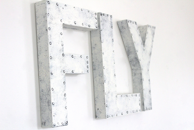 "Rustic farmhouse industrial ""metal"" fly playroom letters in white."