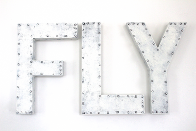 "White rustic ""metal"" playroom FLY sign."