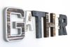 "GATHER wall sign in Industrial ""metal"" letters and ""wooden"" letters."