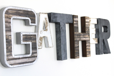 "GATHER wall sign ""metal"" letters."