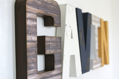 Rustic boys room name letters spelling out the name Gavin.