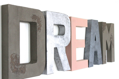 Rustic Dream wall sign for girls room decor and nursery wall decor in silvers and pinks.