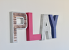 Play sign for girls playroom in silvers, pink, and purple colors.