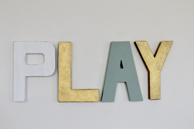 Play wall letters for modern playroom wall decor.