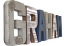 """Wooden"" letters for a boys room with the name GRAHAM in brown and navy in a reclaimed wooden look."