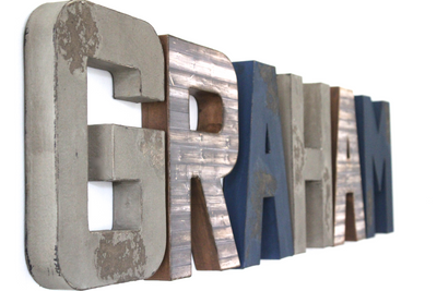Custom wall letters for boys wall decor spelling out Graham.