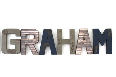 """Wooden"" Wall name letters spelling out Graham in a faux reclaimed farmhouse rustic wood and navy color."