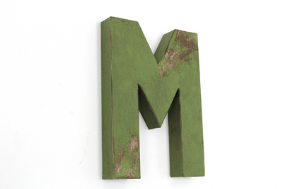 "Letter M in a mossy green rustic distressed ""wooden"" letter"