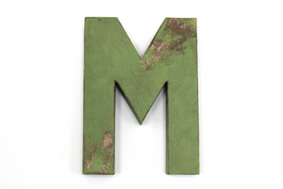 Rustic Green Letter M with Distressing