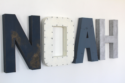 Noah custom wall letters for boys nautical nursery decor in blues, white, and silver.