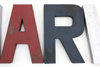 Rustic blue and red distressed letters for a preppy boys room.
