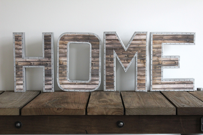 Home letter sign with nail trim design