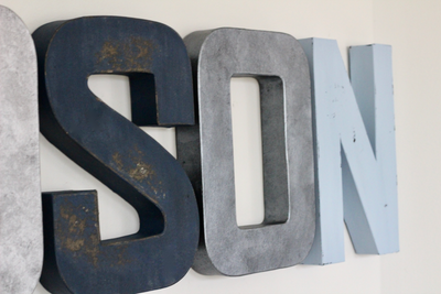 Custom wall letters shown in distressed blue colors.