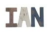 Rustic woodland nursery decor nursery name sign spelling out Ian in brown, gray, and navy.