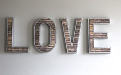 "Large Love Sign ""Wooden"" Letters with ""Metal"" trim"