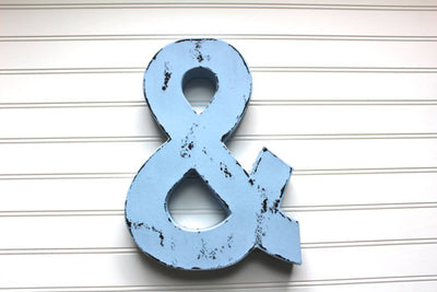 blue ampersand sign for nursery or wedding decor